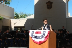 Speaking at City Hall for Veterans Day